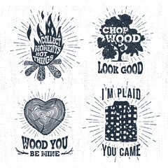 Hand drawn vintage badges set with textured bonfire, oak tree, tree trunk, and plaid shirt vector illustrations and inspirational lettering.