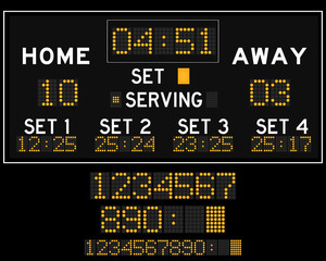 Digital orange led volleyball scoreboard