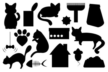 Cat pet vector illustration, with cat food, cat toy, cat paw mark and cat house