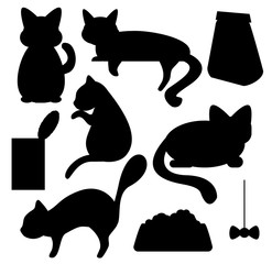 Cats and cat food silhouettes vector clipart
