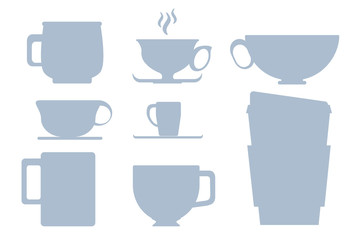 Blue on white cup silhouette vector illustration or clipart