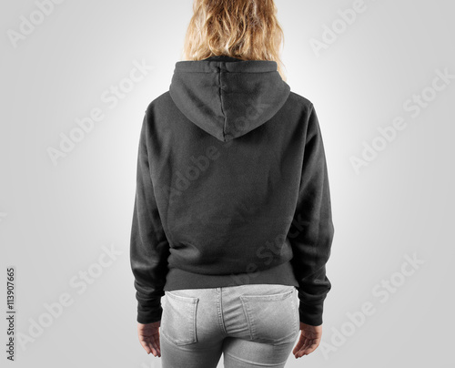 Blank black sweatshirt mock up set isolated, front, back and side ...