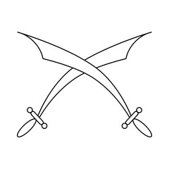 Crossed scimitars icon in outline style