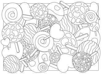 Adult coloring page lollipop candy vector illustration