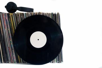 White vinyl records on a white background