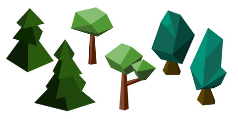 Polygon trees set: fir tree, oak and maple, natural vector clipart