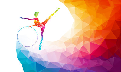 Silhouette of gymnastic girl on rainbow back