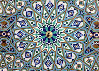 Moroccan mosaic tile, ceramic, Hassan II Mosque, Casablabca