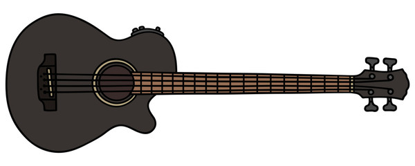 Black acoustic bass guitar / Hand drawing, vector illustration