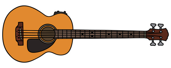 Blue acoustic bass guitar / Hand drawing, vector illustration