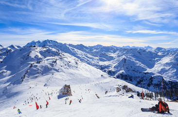 View of snow covered Courchevel slope in French Alps. Ski Resort