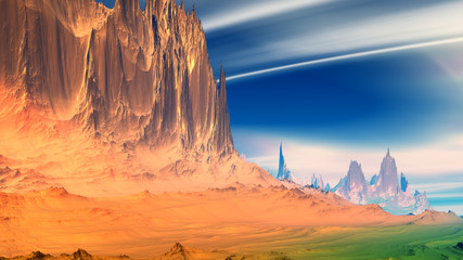 Photo Stands Melon Fantasy alien planet. Rocks and sky. 3D illustration