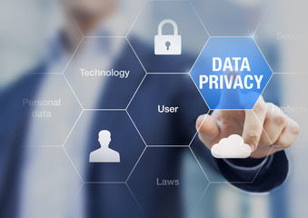 Data privacy concept, protection of personal data on internet