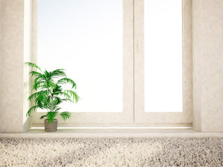green plant on the window, 3d