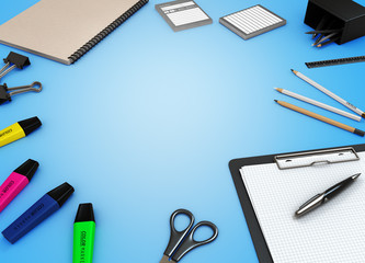 office supplies on color background 3d render