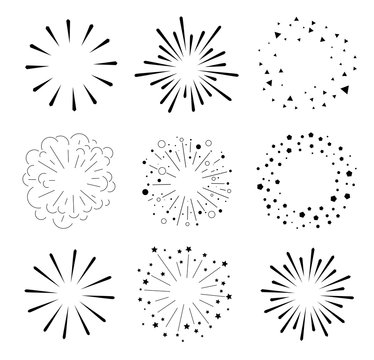 Set of Sparkles and Bursts. Minimal design. Geometric Shapes , Light Ray Collection