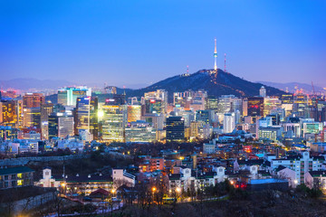 View of Seoul city skyline at night in South Korea