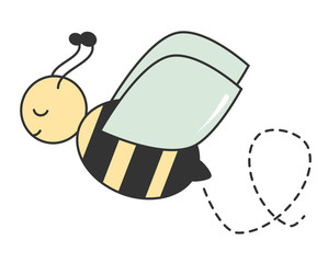 cute cartoon bee flying happy. vector illustration isolated on white background