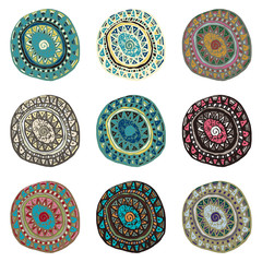 Hand drawn colorful Indian art ornaments in boho style weaves an