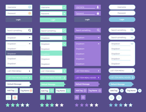 Minimal ui kit web UI elements Mega Collection flat design web elements Icons, web forms, button, check box, media player, pagination and so on