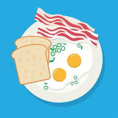 Delicious breakfast of fried eggs, bacon on white plate