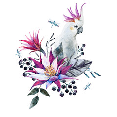 Watercolor tropical composition with white parrot