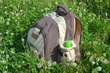 backpack on the grass in clover
