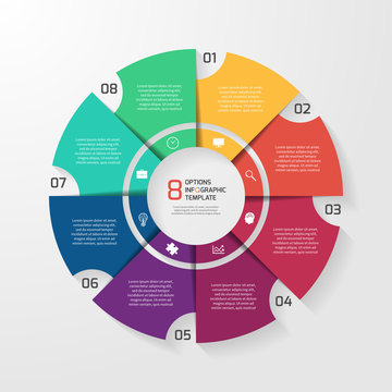 Vector circle infographic template for graphs, charts, diagrams. Pie chart concept with 8 options, parts, steps, processes.