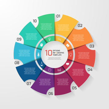 Vector circle infographic template for graphs, charts, diagrams. Pie chart concept with 10 options, parts, steps, processes.