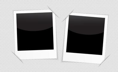 Retro 2 photo frames on transparent background