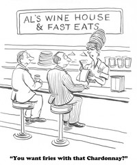 Cartoon about a winery with fast food.