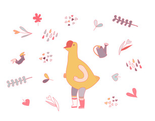 Love goose, flat cartoon vector illustration - a goose wearing rubber boots and striped knee-length socks, surrounded by garden elements in heart shape,