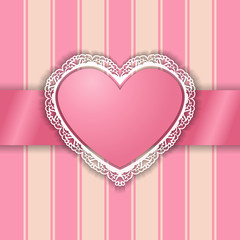 Vintage pink heart shaped ornamental frame on striped background. Abstract heart with cutout lacy borders. Valentines day greeting card. Vector EPS 10