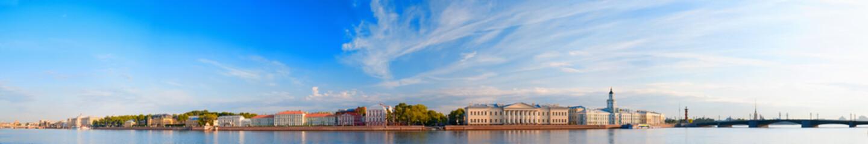 Panoramic view of Neva river in Saint Petersburg, Russia