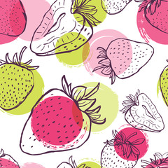 Vector seamless pattern with strawberries and colorful watercolor blots. Hand draw background with black and white linear berries. Design for fabric, textile print, wrapping paper.