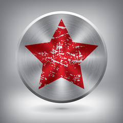 Metal button with red star, vector metallic texture element for you project design