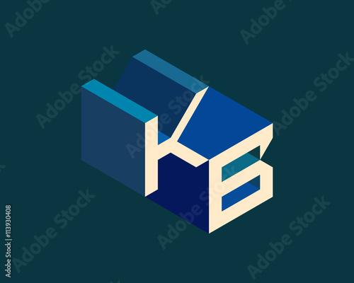 KB Isometric 3D Letter Logo Three Dimensional Stock Vector Alphabet Font Typography Design