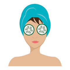 avatar woman with blue towel and cucumber  over isolated background,vector illustration
