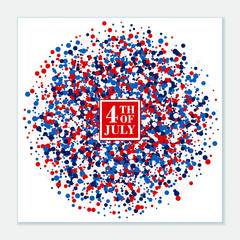 4th of July festive banner. American Happy Independence Day design concept with scatter circles in traditional American colors - red, white, blue. Isolated.