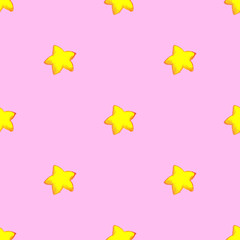 Cartoon star sketch ink line art seamless pattern vector
