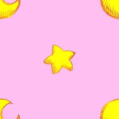 Cartoon star moon sketch ink line art seamless pattern vector