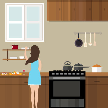 mom woman cooking in kitchen preparing for food cartoon illustration