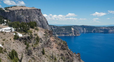 Rock formation overlooking Crater Lake in the Oregon Cascade range