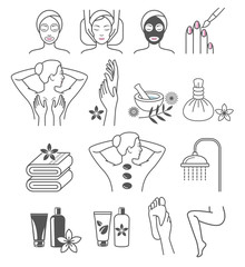 Spa Massage Therapy Skin Care & Cosmetics Services Icons. Vector