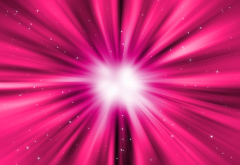 Pink glitter sparkle defocused radial rays lights bokeh beautiful abstract background.