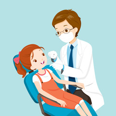 Dentist And Cute Girl On Dental Chair, Medical, Dentistry, Hospital, Checkup, Patient, Hygiene, Healthy, Treatment