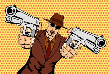 Mafioso with Gun. Pop Art Mafia Boss