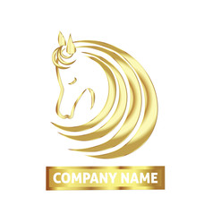 Horse logo business card gold vector design