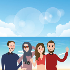 friends taking picture together wearing veil fun on beach illustration