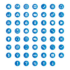 set flat icon circle with shadow